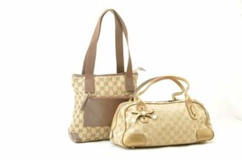 GUCCI GG Canvas Tote Bag Brown Gold Auth sg040 - $180.00