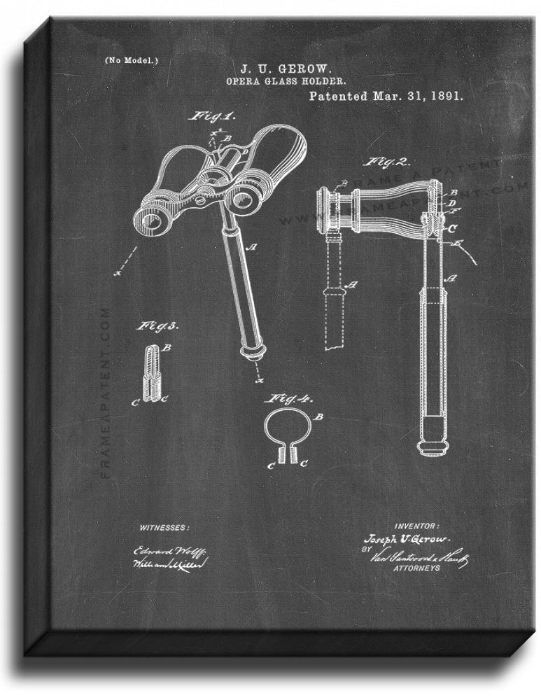 Primary image for Opera Glass Holder Patent Print Chalkboard on Canvas