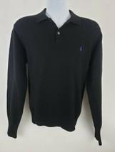 Polo Ralph Lauren 100% Lambswool Black Polo Purple Pony Sweater Size M - $37.61