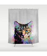 Shower curtains modern art shower curtain Cat 618 grey gray multicolor L... - $68.99