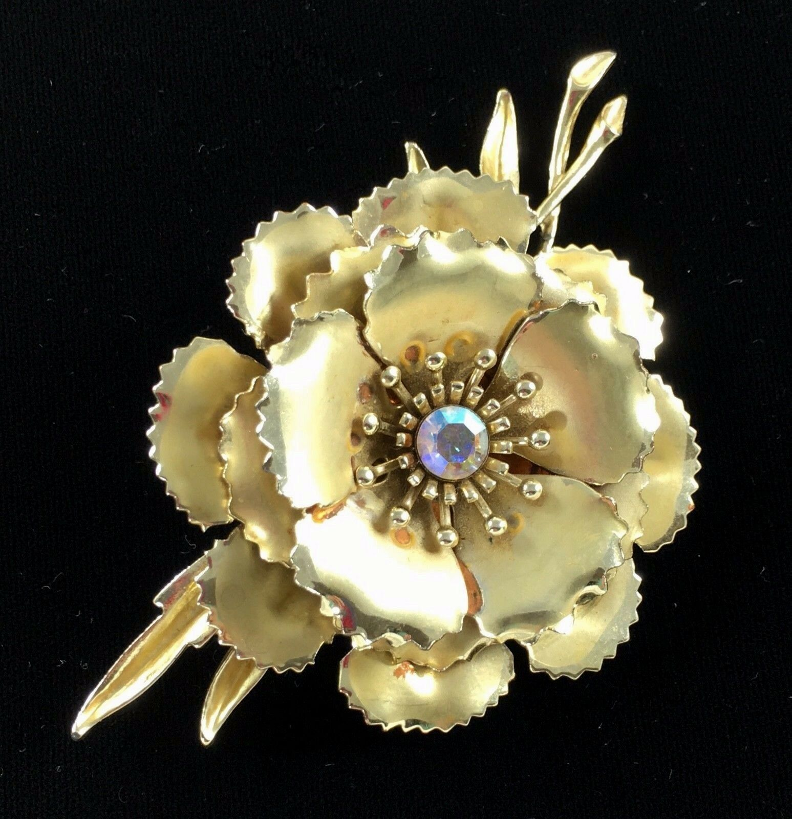 Statement Coro Pin Brooch Signed Flower AB Gold Toned Wedding Bridal Gift Vtg image 2