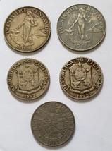 5 vintage Philippine 25 centavo coins 1964, 1966 & 1967, 1972 & 1981 - $8.95