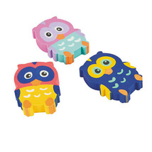 Rubber Owl Erasers School Supplies Party Favors Gifts - $4.79+