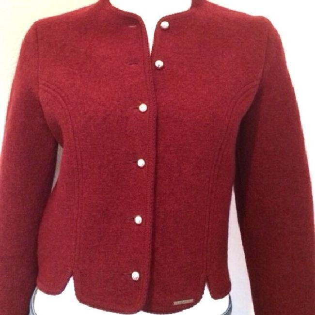 Geiger red button front long sleeve wool cropped jacket 38 2