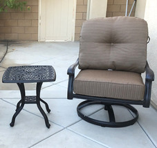 Patio set of 2 cast aluminum 1 swivel club chair and  Elisabeth end table. image 2