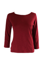 Calvin Klein Comfort Cotton 3/4 Sleeve Top in Cranberry size S  (NWT $50) - $14.84