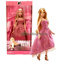 Year 2007 Fashion Fever Series 12 Inch Doll - BARBIE in Elegant Pink Dress - $54.99
