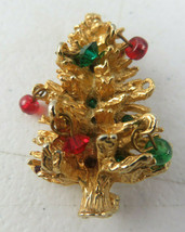 Vintage Accessocraft Retro Jewelry Brooch Christmas Tree Gold Tone II - $29.00