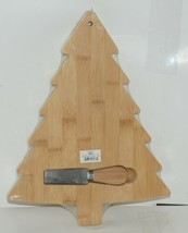 Ganz EX26790 Christmas Tree Shape Bamboo Cheese Board Spreader image 2