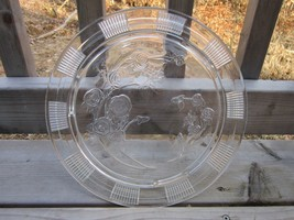 Rose Cake Plate- Clear Vintage Federal Glass Serving Tray- Sharon or Cabbage Ros - $34.64