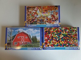 NIB Lot of 3 Puzzlebug 500 Piece Puzzles - Carousel - Candy - Red Barn -... - $9.85