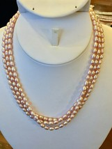 "Pink Seed Pearl 3 Strand Necklace 16 1/2"" Freshwater 14k gold filled NEW - $36.58"