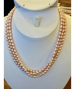 """Pink Seed Pearl 3 Strand Necklace 16 1/2"""" Freshwater 14k gold filled NEW - $36.58"""