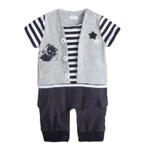 Casual Stripe Grey Baby Bodysuit Infant Onesies Toddler One-piece Romper