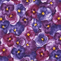 Timeless Treasures Pansies packed purple 100% cotton fabric by the yard - $9.55