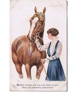 Artist Signed Postcard Florence Walter Horse Woman Faithful Friends - $4.58