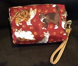 Clutch Bag/Wristlet/Makeup Bag - Cats on burgundy red background