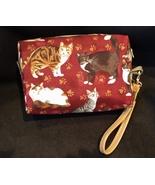 Clutch Bag/Wristlet/Makeup Bag - Cats on burgundy red background - $29.95