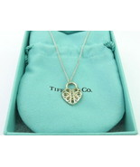 Authentic TIFFANY & CO Sterling Silver Filigree Heart Key Hole Pendant N... - $129.40