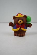 FISHER PRICE LITTLE PEOPLE Brown Circus Bear with Green Balloon - $2.96