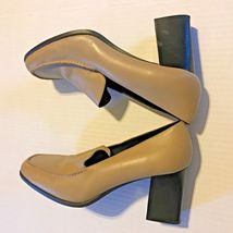 B 9 Ons Slip Heels Women Leather Tan AEROSOLES Sz Block Upper BEIGE 5 FHTx67FwqB