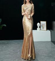 GOLD Sequin Maxi Formal Dress High Waist Side Slit Sequin Dress Wedding Outfits image 4