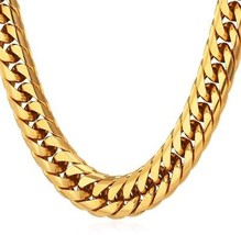 Punk Hip-hop Style Mens Big Chain 12MM Wide 18K Gold Plated Chunky Necklace - $72.22