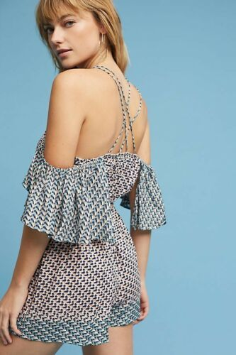 New Anthropologie Madalenna Open-Shoulder Romper by Elevenses $98 SMALL