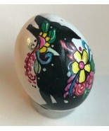 REAL Egg Handpainted Blown Egg Animal Silhouette Floral decor Easter / Wolf - $6.25