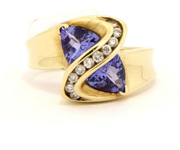 New 10k Yellow Gold Ring with Tanzanite and Diamond Size 5.75 - $259.00