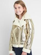 NWT $128 GAP Kids Cozy Leather Metallic Gold Biker Moto Jacket Coat S 6 7 - $59.98