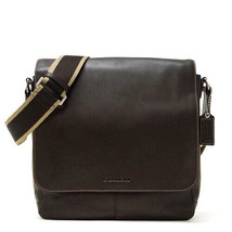 NWT COACH heritage Web leather map bag SV/BR Brown F70555 - $179.95