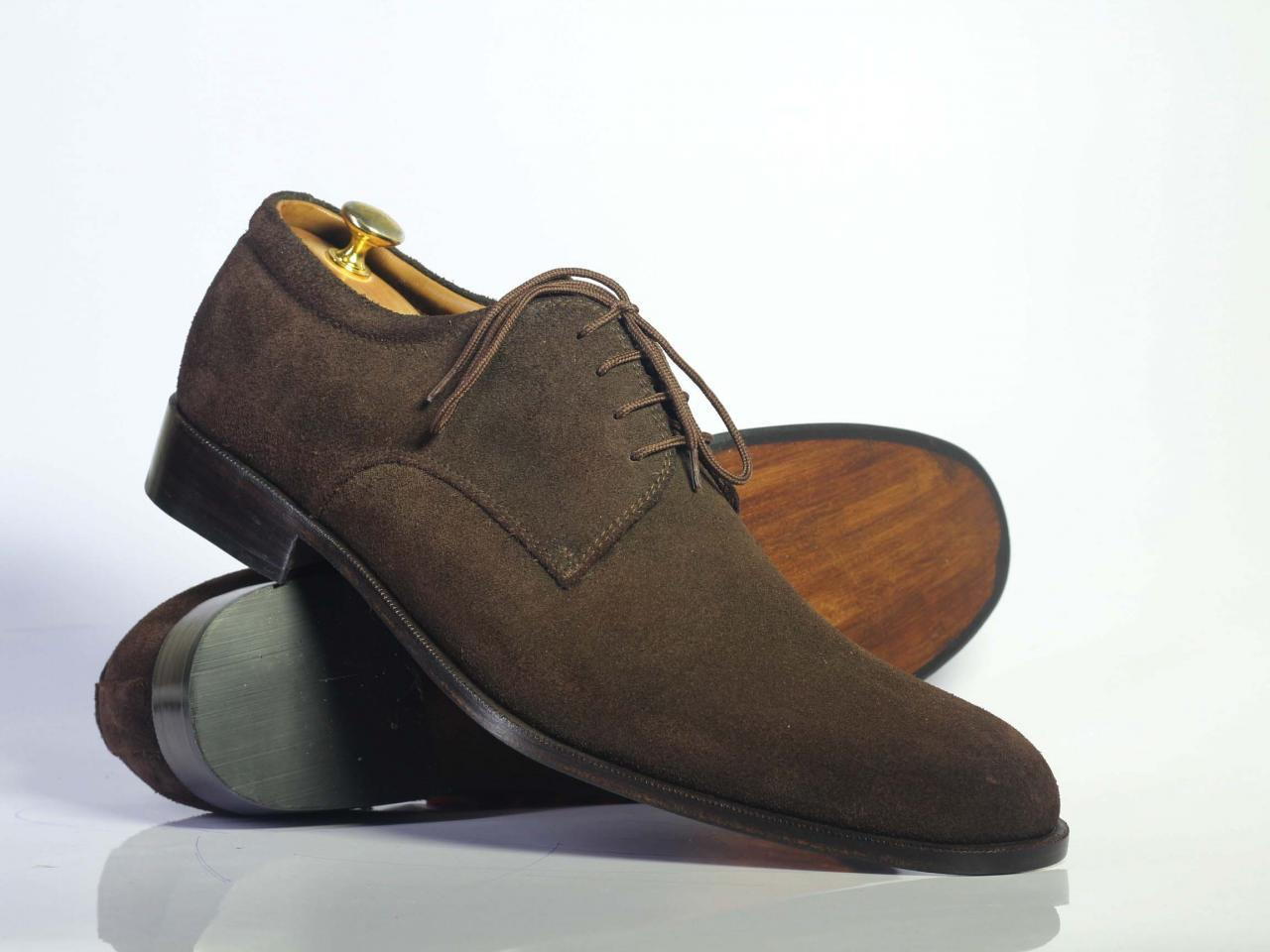 Handmade Men's Chocolate Brown Suede Dress/Formal Oxford Shoes