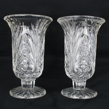 Pair of Cut Glass Footed Vases Open Palm Leaves Diamond Design 7 Inches ... - $48.99