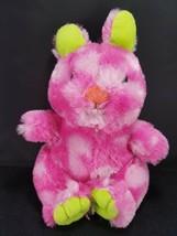 "Easter Bunny Rabbit Hot Pink Green Ears Plush Stuffed Animal Adventure 11"" Soft - $11.57"