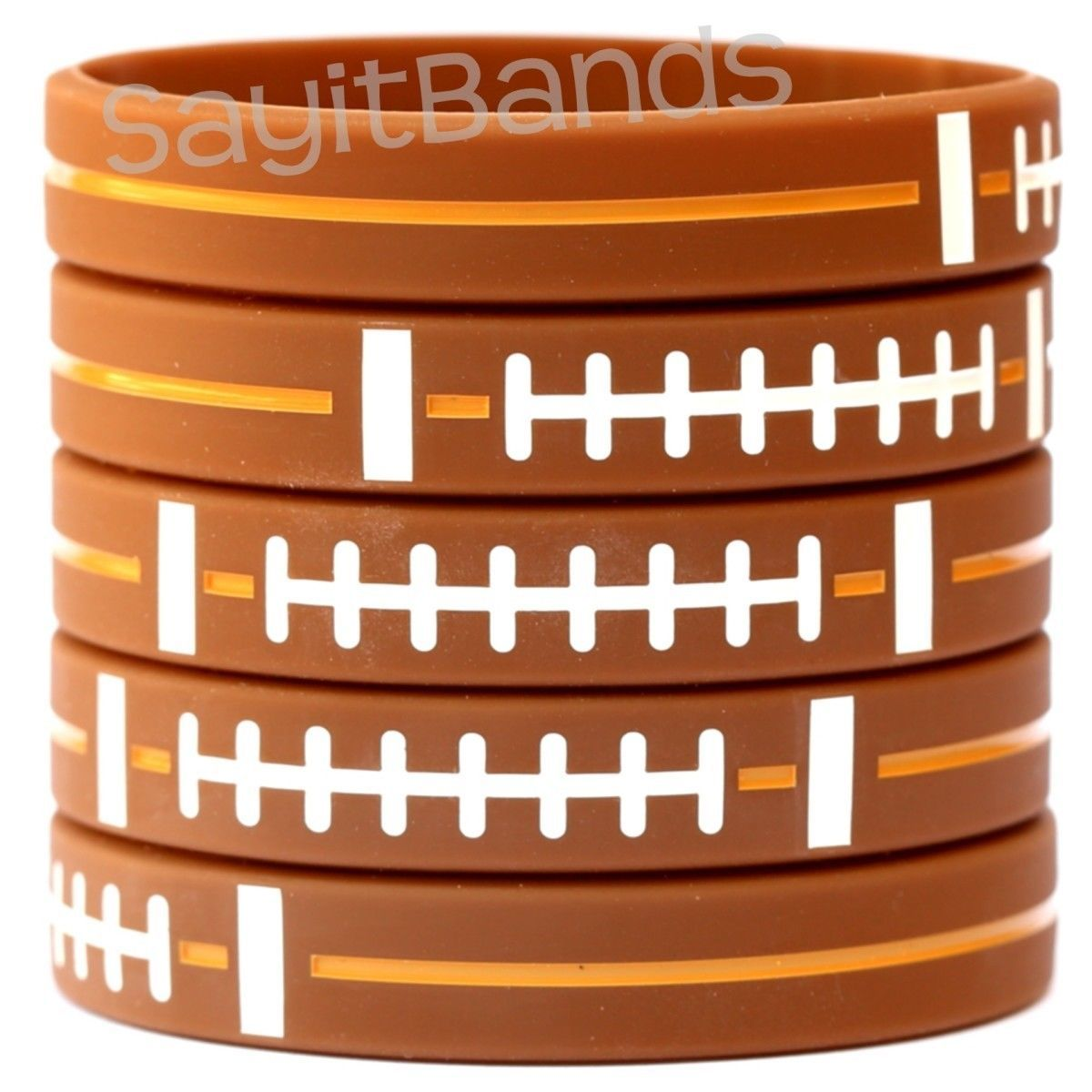 5 FOOTBALL Wristbands - Silicone Bracelets - Debossed Quality Wrist Bands - $5.82