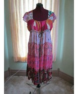 Sacred Threads Rayon Hippie Patchwork Tiered BOHO India Empire Babydoll ... - $48.00