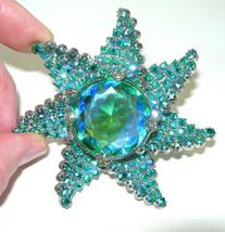 VINTAGE MASSIVE HUGE BLUE GREEN GIVRE GLASS AURORA BOREALIS RHINESTONE B... - $375.00