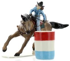 Hagen-Renaker Specialties Ceramic Horse Figurine Rodeo Barrel Racer with Barrel image 10
