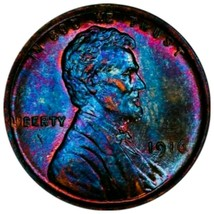 1916 AU58 Lincoln Wheat Penny Cent   beautiful monster toning. - $137.20