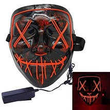 miso LED Light up Mask Festival Parties Frightening Wire Halloween Sound... - £11.10 GBP