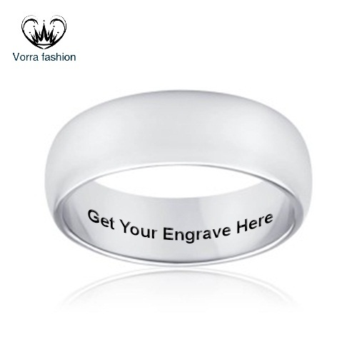 Primary image for Engagement Men's Band Ring With Free Engrave 14k White Gold Plated 925 Silver