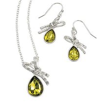 Avon Embellished Ribbon Necklace and Earrings Gift Set - $14.99