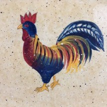 """Rooster Cafe Lg 16"""" Platter Chicken Turkey Thanksgiving Christmas Teal B... - £46.48 GBP"""