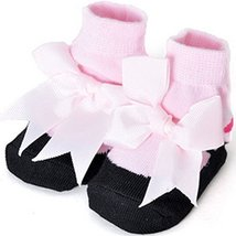 Baby Socks Lovely Cotton Summer Infant Socks 0-12 Months(Black With Pink Bow)