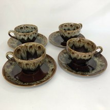4 Harker China Rawhide Cup and Saucer Sets Brown Drip Stoneware Quaker Maid VTG - $39.55