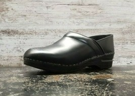 Womens Dansko Slip On Clog Shoes Sz 8 39 Used Black Leather Professional Casual - $29.69