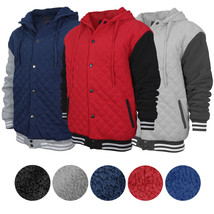 Men's Heavyweight Quilted Snap Button Sherpa Lined Varsity Jacket Hoodie