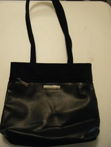 Womens Nine West Leather And Vinyl Handbag Silver Accents - $20.69