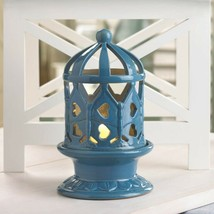 Lot of 10 Blue Glazed Ceramic Candle Holder w/ Heart Cutouts LED Candle ... - $146.47